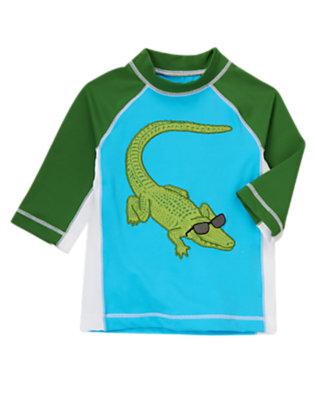 Boys Turquoise Alligator Rash Guard by Gymboree