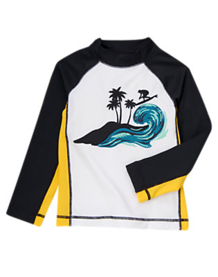 Boys White Surfer Rash Guard by Gymboree