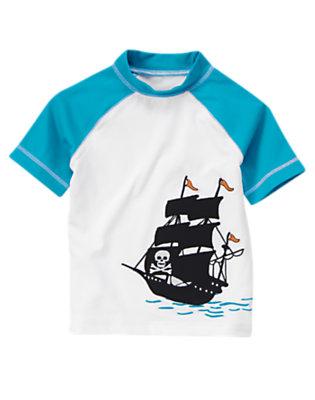White Pirate Ship Rash Guard by Gymboree