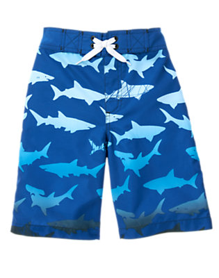 Boys Deep Sea Blue Shark Swim Trunk by Gymboree