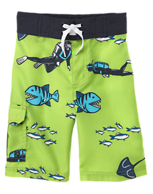Boys Lime Green Scuba Diver Swim Trunk by Gymboree