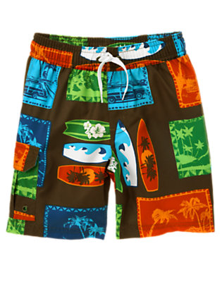 Boys Chocolate Brown Island Surf Swim Trunk by Gymboree