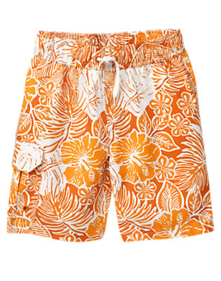 Boys Orange Floral Tropical Hibiscus Swim Trunk by Gymboree