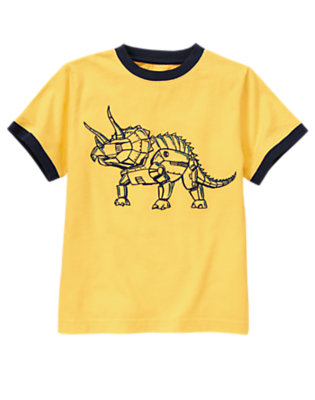 Boys Sunset Gold Robot Triceratops Tee by Gymboree