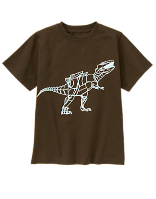 Boys Chocolate Brown Robot T-Rex Tee by Gymboree