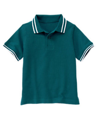 Dark Teal Tipped Pique Polo Shirt by Gymboree