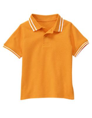 Boys Papaya Orange Tipped Pique Polo Shirt by Gymboree