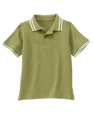 Boys Dusty Olive Green Tipped Pique Polo Shirt by Gymboree