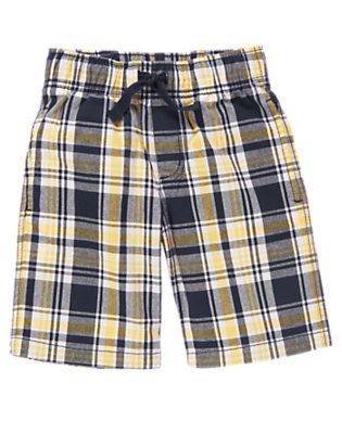 Sunset Gold Plaid Drawstring Plaid Short by Gymboree