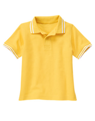 Boys Sunset Gold Tipped Pique Polo Shirt by Gymboree