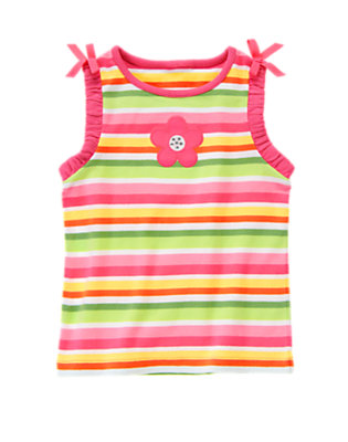 Green Tea Stripe Gem Flower Stripe Bow Tank Top by Gymboree