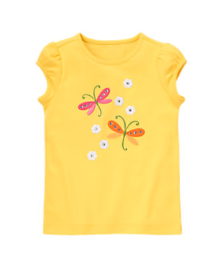 Buttercup Yellow Gem Dragonfly Flower Tee by Gymboree