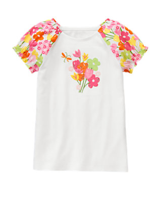 White Gem Flower Poplin Sleeve Tee by Gymboree