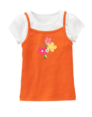 Dragonfly Orange Gem Flower Layered Tee by Gymboree
