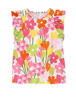 White Floral Flower Flutter Sleeve Tank Top by Gymboree