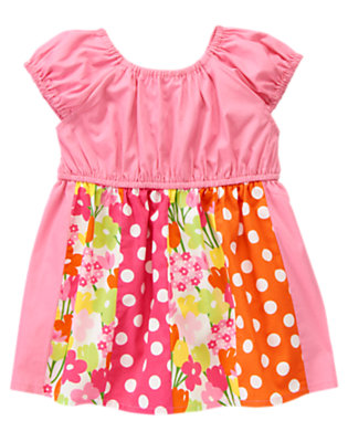 Hydrangea Pink Flower Dot Mixed Print Tunic Top by Gymboree