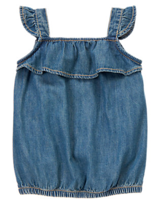 Girls Denim Flutter Sleeve Denim Top by Gymboree