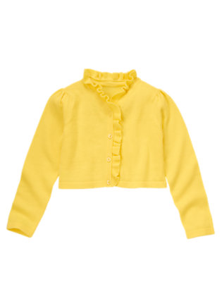 Girls Buttercup Yellow Ruffle Crop Sweater Cardigan by Gymboree