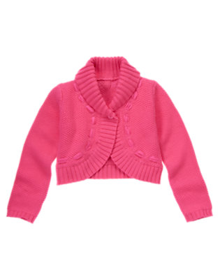 Girls Tulip Pink Shawl Collar Crop Sweater Cardigan by Gymboree