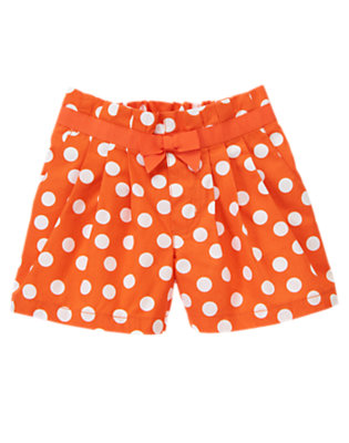Girls Dragonfly Orange Dot Bow Pleated Dot Short by Gymboree
