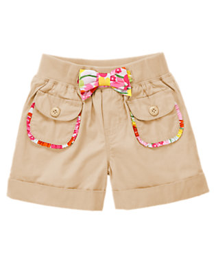 Girls Khaki Floral Bow Cuffed Short by Gymboree