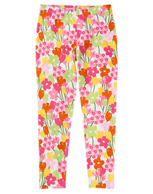 Girls White Floral Flower Legging by Gymboree