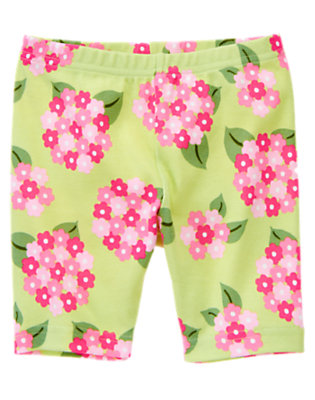 Girls Green Tea Floral Hydrangea Bike Short by Gymboree