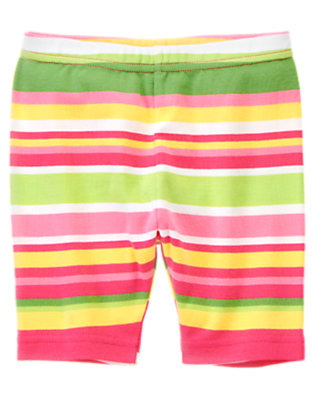 Girls Green Tea Stripe Stripe Bike Short by Gymboree