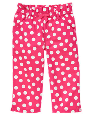 Girls Tulip Pink Dot Bow Dot Capri Pant by Gymboree