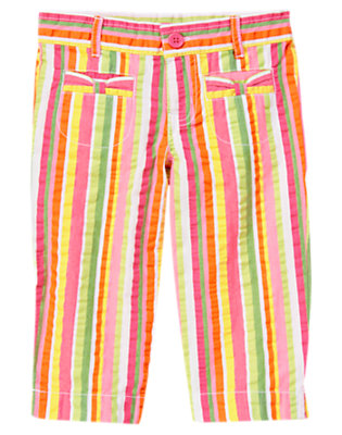Girls Green Tea Stripe Stripe Seersucker Capri Pant by Gymboree