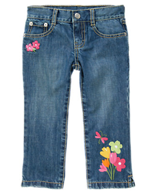 Girls Denim Dragonfly Flower Crop Jean by Gymboree