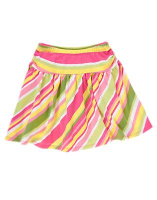 Girls Green Tea Stripe Bow Stripe Skort by Gymboree