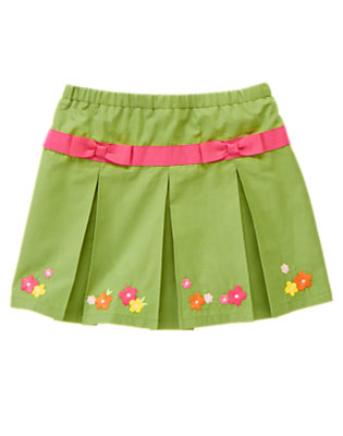Girls Moss Green Flower Bow Pleated Skort by Gymboree