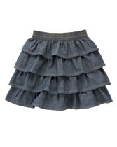 Pickstitched Tiered Chambray Skirt