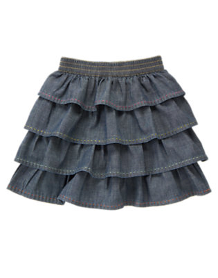 Girls Chambray Pickstitched Tiered Chambray Skirt by Gymboree