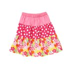 Dot Flower Mixed Print Tiered Skirt