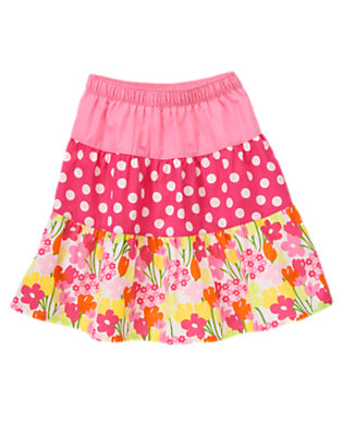 Girls Tulip Pink Dot Dot Flower Mixed Print Tiered Skirt by Gymboree