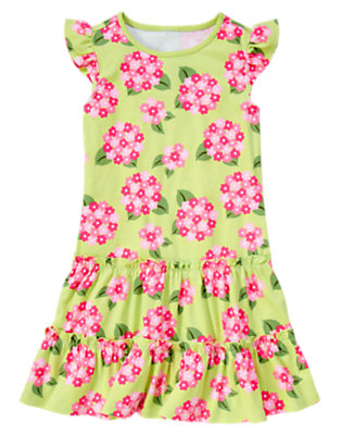 Girls Green Tea Floral Hydrangea Ruffle Dress by Gymboree
