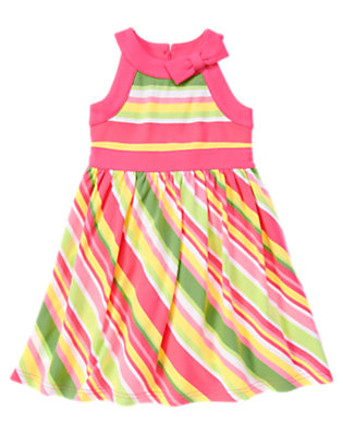 Girls Green Tea Stripe Bow Stripe Dress by Gymboree