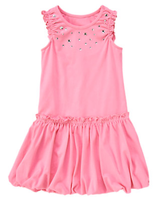 Girls Hydrangea Pink Gem Ruffle Bubble Dress by Gymboree