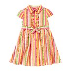 Ruffle Seersucker Stripe Belted Dress