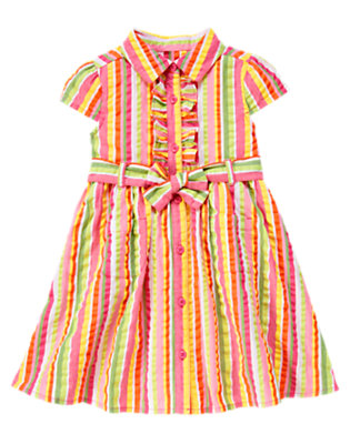 Girls Green Tea Stripe Ruffle Seersucker Stripe Belted Dress by Gymboree