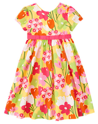 Girls Buttercup Yellow Floral Flower Ribbon Dress by Gymboree