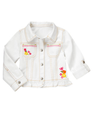Girls White Embroidered Flower Denim Jacket by Gymboree
