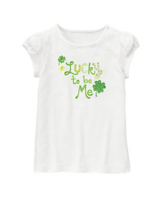 White Gem Clover Tee by Gymboree