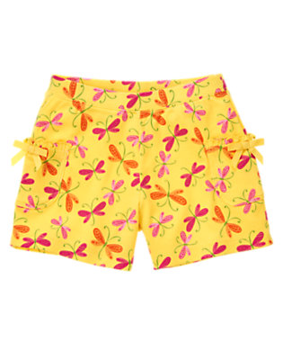 Girls Buttercup Yellow Dragonfly Dragonfly Bow Pocket Short by Gymboree