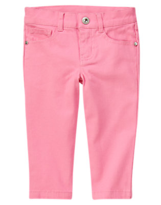 Girls Hydrangea Pink Rhinestud Capri Pant by Gymboree
