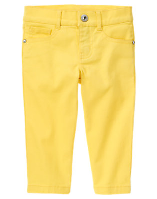 Buttercup Yellow Rhinestud Capri Pant by Gymboree