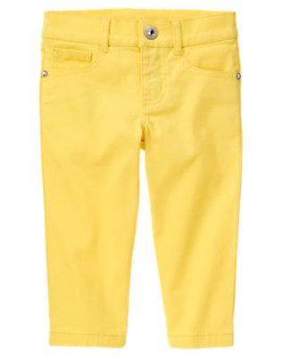Girls Buttercup Yellow Rhinestud Capri Pant by Gymboree