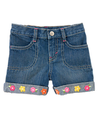 Girls Denim Embroidered Flower Cuff Jean Short by Gymboree
